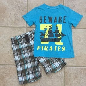 Carter's Boys Pirates Graphic Tee & Plaid Shorts